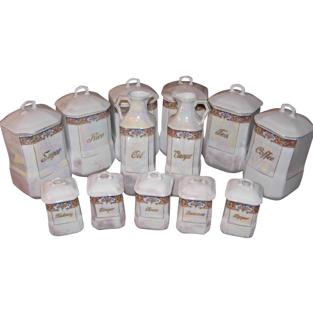 24 Piece German Lusterware Canister Set