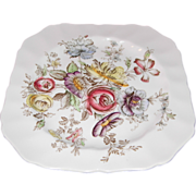 Sheraton (Floral Center) Square Salad Plate by Johnson Bro's