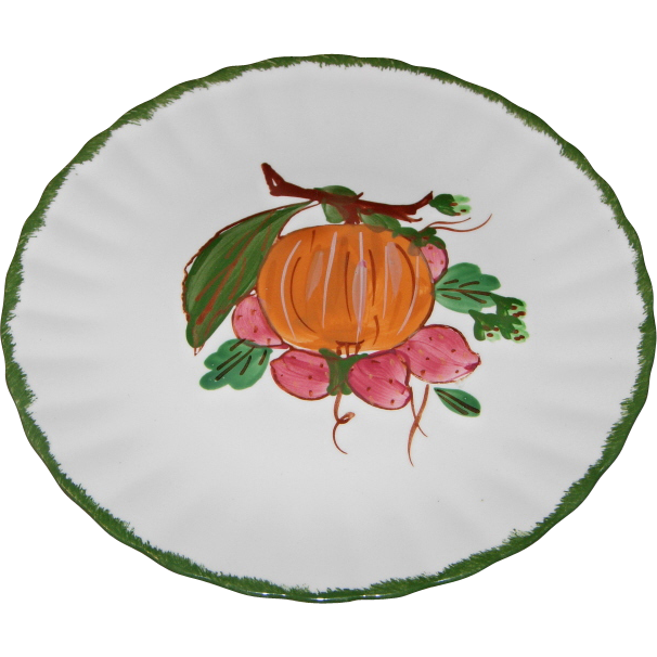 "County Fair ""Peach & Strawberry"" Pattern Dessert/Salad Plate by Blue Ridge Southern Potteries"