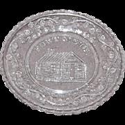 Early American Sandwich Pattern Glass Cup Plate – Fort Meigs Tippe Canoe
