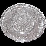 Early American Sandwich Pattern Glass Cup Plate – Hearts, Arrows, Lyre
