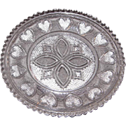 Early American Sandwich Pattern Glass Cup Plate – Celtic Design w/Hearts