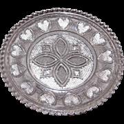 Early American Sandwich Pattern Glass Cup Plate – Celtic Design w/Hearts