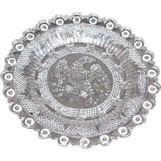 Early American Sandwich Pattern Flint Glass Cup Plate – Eagle with 13 five pointed stars