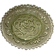 Early American Green Sandwich Pattern Glass Cup Plate –Rose