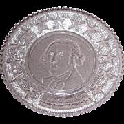 Early American Sandwich Pattern Glass Cup Plate – George Washington