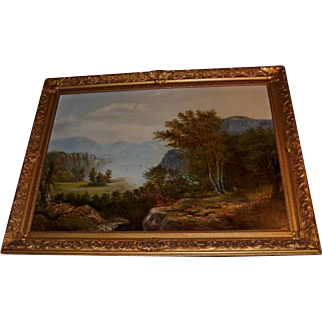 Framed 19th C. Hudson River Scene Oil on Canvas