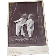 Photo Cabinet Card Child Kissing Other Child