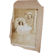 Photo Cabinet Card Little Girl w/Doll in Wicker Carriage