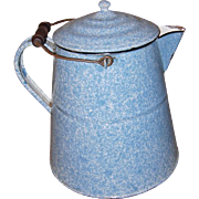 Large 2 Gallon Blue and White Speckled Enamelware Farmhouse Coffee Boiler