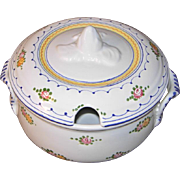 White Ceramic Soup Tureen with Flower Design