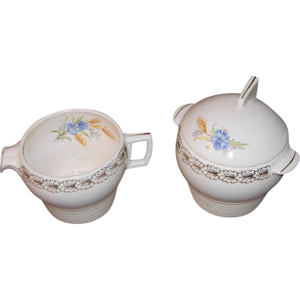 American Limoges Creamer & Covered Sugar Bowl in Wheatfield Pattern by Triumph