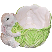 Ceramic Cabbage Planter with Two Bunny Rabbits