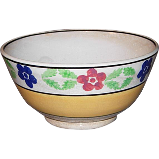 19th c Hand Painted Stick Cut Sponge & Spatter Ware Bowl
