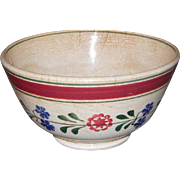 Early Hand Painted James Reeves Stick Spatter Stick Cut Sponge Ware Bowl