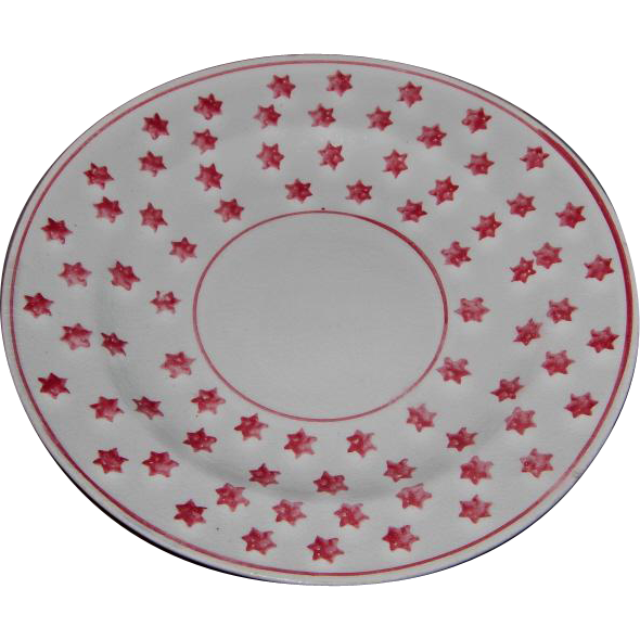 19th c Hand Painted Stick Cut Sponge Ware Plate with Red Star Design