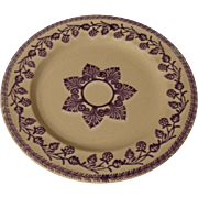 19th c Purple Patterned Stick Cut Sponge Ware Plate