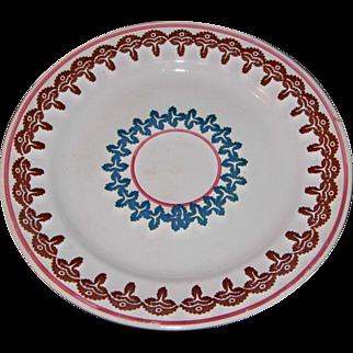 18th c William Adams Stick Spatter Cut Sponge Ware Plate
