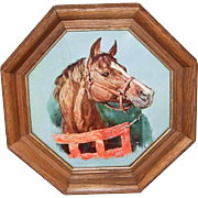 Race Horse Picture in Octagonal Shaped Wood Frame