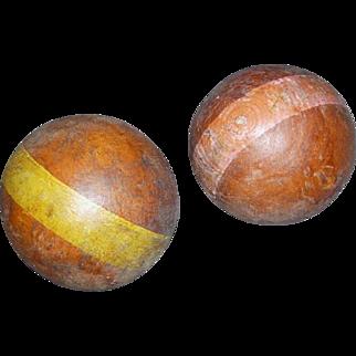 Two Vintage Wooden Croquet Balls