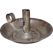 Circa 19th Century Tin Candlestick with Deep Saucer Bottom
