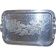 Vintage Continental 623 Hammered Aluminum Tray w/Chrysanthemum Pattern