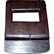 All Wood Primitive Hand-Held Food Chopper w/Steel Blade (Ca. 19th Century)