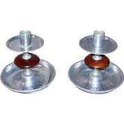 Pair Mid-Century Wood and Hammered Aluminum Candlesticks