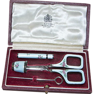 Five piece Silver & Guilloche′ Enamel Embroidery Set in Leather Box