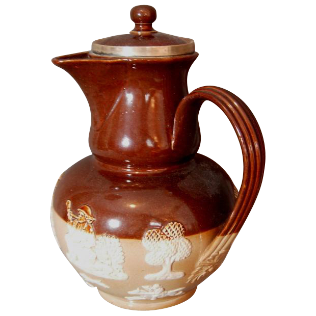 Doulton Lambeth Salt Glaze Side Handled Coffee Pot/Cider Pitcher