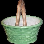 Vintage Textured Green Ceramic Basket Weave Easter/Christmas Basket