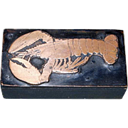 Printers Woodblock with Copper Lobster Motif