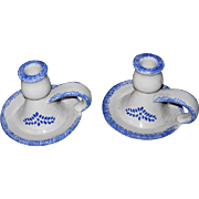 Pair Stoneware Candleholders/Chamber Sticks with Blue Sponge Ware Pattern
