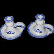 Pair Stoneware Candleholders/Chamber Sticks with Blue Sponge Ware Pattern