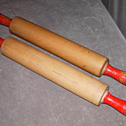 Two Vintage Wooden Rolling-Pins w/Red Handles
