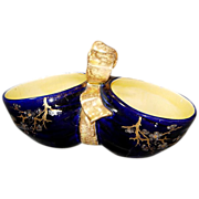 Sarreguemines French Majolica Bow Handled Double Sided Bowl