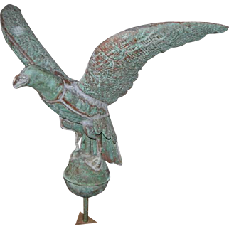 Antique Weathered Copper Eagle on Wooden Base