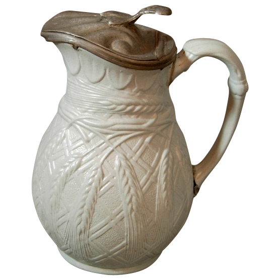Antique Salt Glaze Syrup Pitcher with Pewter Lid