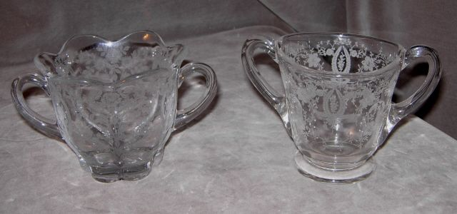 Two Etched Floral Design Glass Sugar Bowls
