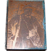 Printers Woodblock with Copper Plate Image of Photographer