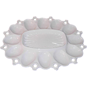 Milk Glass Egg / Relish Plate