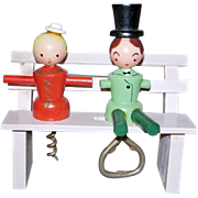 Vintage Hand Painted Couple on Bench Corkscrew and Bottle Opener