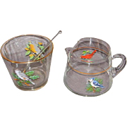 Mid-Century Bird Motif Ice Bucket with matching Cocktail Pitcher and Stirrer