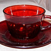 Anchor Hocking Royal Ruby Cup & Saucer