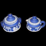 Wedgwood Jasperware Creamer w/Sugar Bowl w/Lids