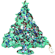 Vintage Glittery Plastic Christmas Tree Brooch w/mother Mary Oval Charm