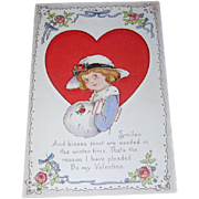 1926 Valentine's Day Postcard Girl with Muff