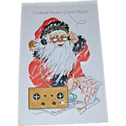 Christmas Postcard with Santa Claus on Band Radio