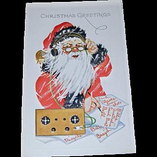 Christmas Postcard with Santa Claus on Band Radio