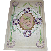 Vintage Postcard Birthday Greetings Cameo Booklet Postcard